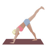 Template with blonde girl doing yoga exercises, good for yoga studio, yoga class, yoga center. Royalty Free Stock Images