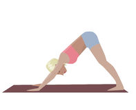 Template with blonde girl doing yoga exercises, good for yoga studio, yoga class, yoga center. Stock Images