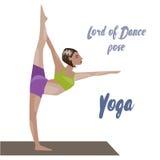 Template with blonde girl doing yoga exercises, good for yoga studio, yoga class, yoga center. Royalty Free Stock Photography