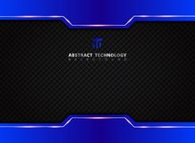 Template blue and black contrast abstract technology background. Vector illustration Stock Photo