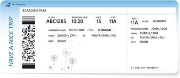 Template of blue boarding pass. Or ticket or traveler check for travel by plane. Concept of travel by aerial transport. Isolated vector on white royalty free illustration