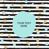 Template with blue, golden circles and black stripes. Text copy template for birthday/greeting card, invitation, flyers, cover. Pattern with black & white royalty free illustration