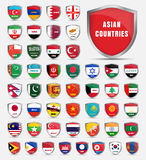 Template boards with flags of the countries of Asian. Royalty Free Stock Photography