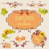 Template and border elements set with sunflower and grape Stock Photo