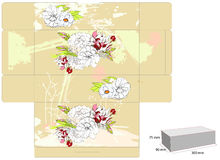 Template for box with flowers Royalty Free Stock Photography