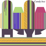 Template for box gift(candies). Gift box - candy, toys, various stock illustration