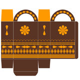 Template for box with ornaments. Gift box - candy, toys, various vector illustration