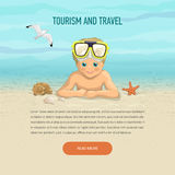 Template boy of vacation on beach Royalty Free Stock Image