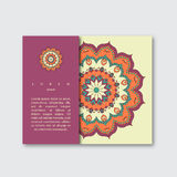 Template for brochure card with hand drawn colorful mandala. Vin Stock Images
