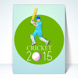 Template or brochure design for Cricket 2015. Royalty Free Stock Photography