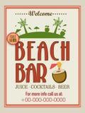 Template, brochure or flyer design for beach bar. Stock Image