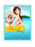 Template, brochure or flyer design for beach party. Beach party template, banner or flyer design with young modern girls Royalty Free Stock Images