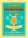 Template, brochure or flyer design for cocktail party. Royalty Free Stock Photography