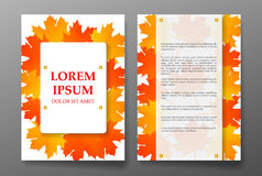 Template brochure with foliages seasons colors Royalty Free Stock Image