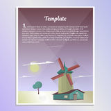 Template brochure landscape with windmill vector illustration. Template design, brochure landscape with windmill vector illustration Royalty Free Stock Photo