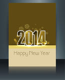 Template  brochure New Year 2014 reflection design. Illustration Royalty Free Stock Photography
