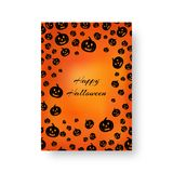 Rectangular poster with pumpkins for Halloween. Template of brochure with soaring pumpkins for festive halloween design Royalty Free Stock Images