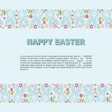 Template with Bunny head and flowers for Happy Easter Day Royalty Free Stock Image