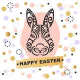 Template with Bunny Head and foils. Template with Bunny head. Vector design element for Happy Easter Day, party invitation, greeting card, web, postcard, girl Stock Photo
