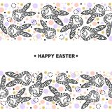 Template with Bunny Head. For Happy Easter Day, party invitation, greeting card, web, postcard, girl or boy birthday, baby shower, pet shop, tattoo studio Royalty Free Stock Photo