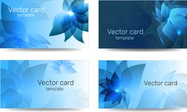Template of business cards in blue color with a design element. Text frame. Web design elements. Template of business cards in blue color with a design element stock illustration