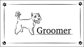 Template business cards for groomer. hand drawing illustration. vector Stock Photography