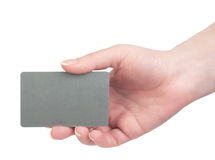 Template business cards in his hand Stock Images