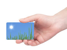 Template business cards in his hand Royalty Free Stock Images