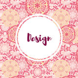 Template business cards with oriental Islamic mandala  pattern. Stock Images