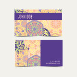 Template business cards with oriental Islamic mandala  pattern. Royalty Free Stock Photo