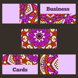 Template business cards with oriental pattern and geometric circle element. Royalty Free Stock Photography