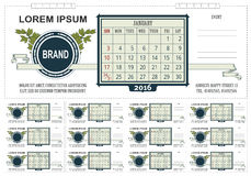 Template business desk calendar with space for notes. 2016. Week starts on Sunday Stock Photography