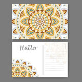 Template for business, invitation card. Postcard background with mandala element. Decorative ornamental design Royalty Free Stock Images