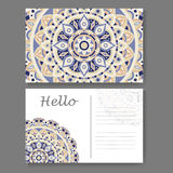 Template for business, invitation card. Postcard background with mandala element. Decorative ornamental design Stock Photo