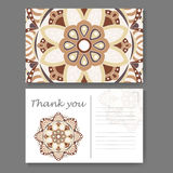 Template for business, invitation card. Postcard background with mandala element. Decorative ornamental design Stock Image
