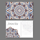Template for business, invitation card. Postcard background with mandala element. Decorative ornamental design Royalty Free Stock Photography