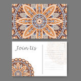 Template for business, invitation card. Postcard background with mandala element. Decorative ornamental design Royalty Free Stock Photos