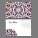Template for business, invitation card. Postcard background with mandala element. Decorative ornamental design Royalty Free Stock Image