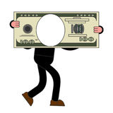 Template Businessman carries big dollar. Huge profits. Big money Stock Image