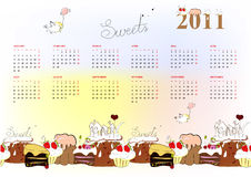 Template for calendar 2011. Colorful illustration Royalty Free Stock Images