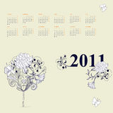 Template for calendar 2011. With decorative tree Royalty Free Stock Images