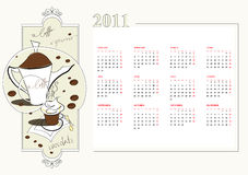 Template for calendar 2011 Royalty Free Stock Photos
