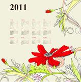 Template for calendar 2011 Stock Image