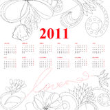 Template for calendar for 2011. Universal template for greeting card, web page, background Stock Photography