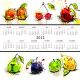 Template for calendar 2012. With fruit Stock Photography