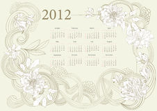 Template for calendar 2012. With flowers Stock Photography