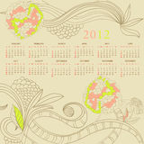 Template for calendar 2012. With flowers Stock Photo