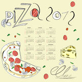 Template for calendar 2012. With pizza Royalty Free Stock Photography