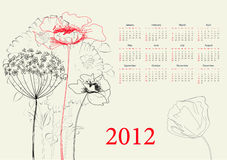 Template for calendar 2012. With flowers royalty free illustration
