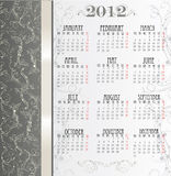 Template for calendar 2012 with flowers Royalty Free Stock Images